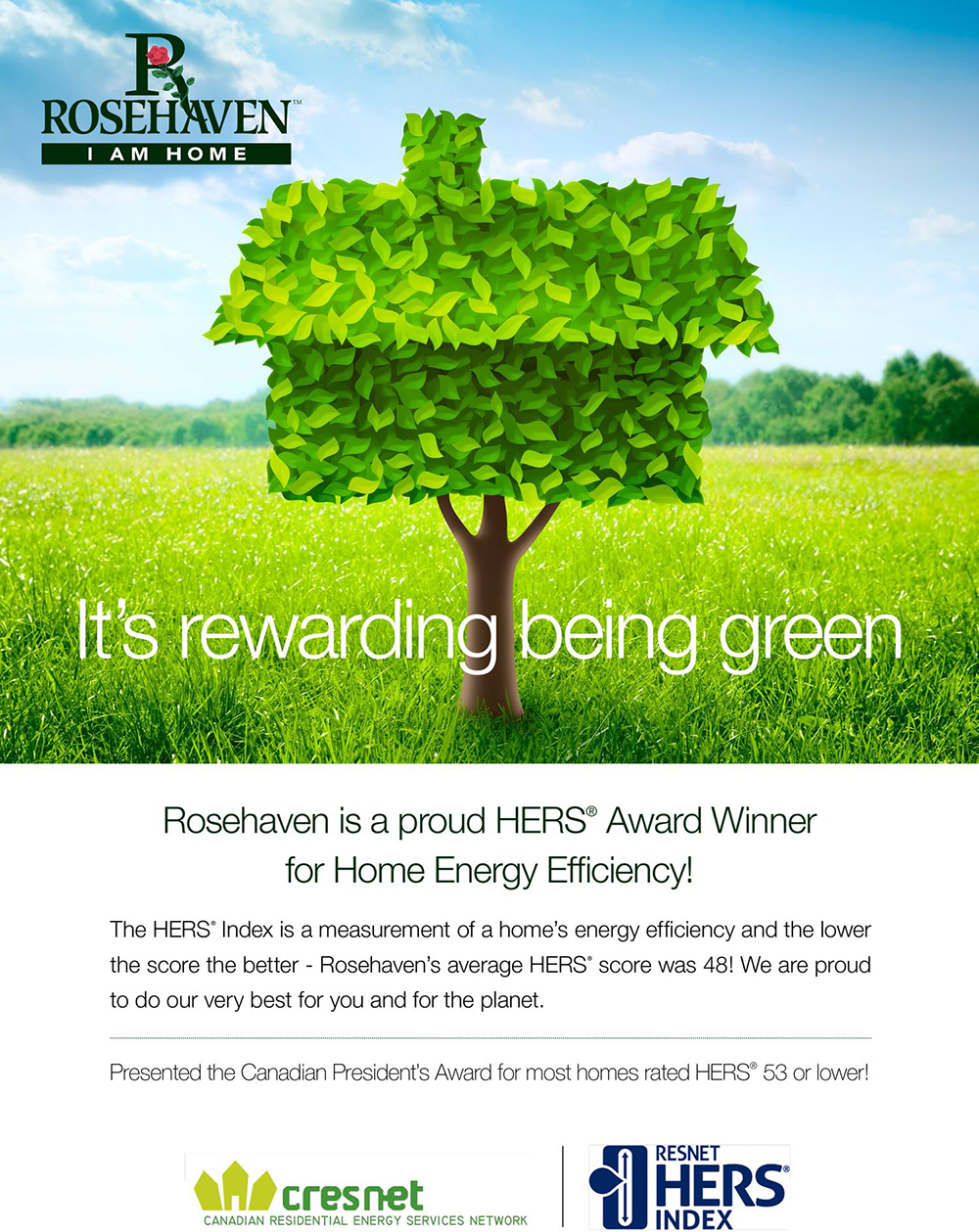 Rosehaven Homes Wins the award for Energy Efficiency